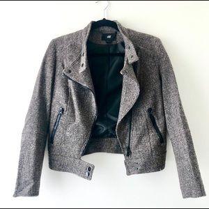 H&M Brown/Gray Tweed Moto Jacket